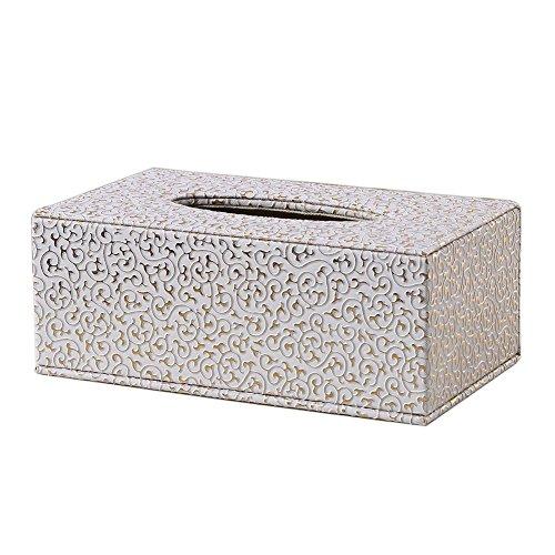 kentop Tissue Box rostro pañuelos (Caja de oro patrón piel caja de pañuelos rectangular para pañuelos dispensador para Home Office Auto