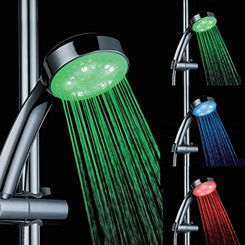 BJLWTQ Ducha LED de color Handheld principales luces cambiantes del color cabezal de ducha del sensor de temperatura 3 colores que cambian