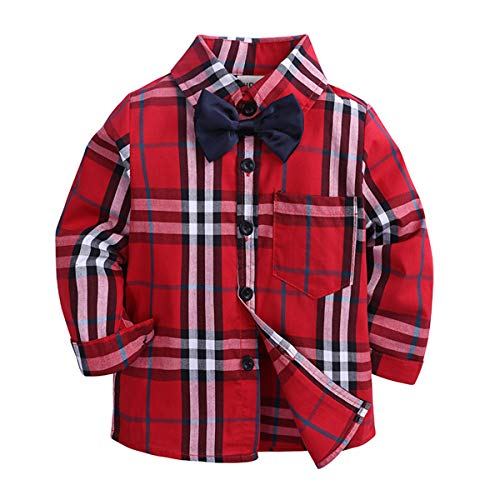 HAOKTY Kinder Jungen Mädchen Langarm Plaid Kariert Freizeit Party Hemd Tops Baumwolle Hemden Shirt (Color 5, 128(Label 140))