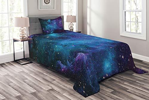ABAKUHAUS Weltraum Tagesdecke Set, Galaxy Sterne im Weltraum, Set mit Kissenbezug Kein verblassen, für Einselbetten 170 x 220 cm, Navy Purple