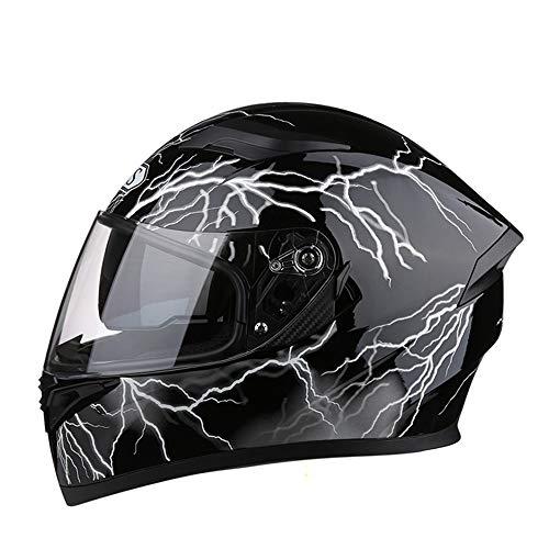 LCSD Cascos de motocicleta de cuatro estaciones casco de cara completa con doble lente para coche eléctrico, casco de seguridad con lente transparente de 54 a 65 cm (color: sin esquina, tamaño: M)