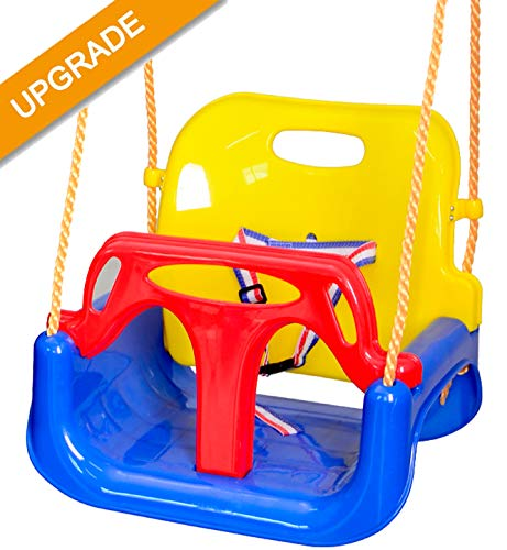 Nollapo Toddler Swing 3 in 1 Seat Hanging Swing Set for Playground Swing Set, Infants to Teens Swing (Blue)