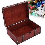 yuytee Caja de Madera, Maleta Vintage Caja con Cerradura Caja de Almacenamiento de Madera Vintage Caja de joyería Decorativa con Cerradura para el hogar Grande 32 x 23,5 x 11,5 cm(03)