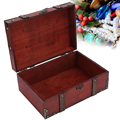 yuytee Caja de Madera, Maleta Vintage Caja con Cerradura Caja de Almacenamiento...