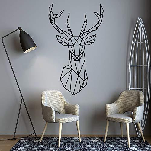 Pegatinas de pared de ciervo de geometría nórdica calcomanías murales creativas para decoración de pared de habitación de niños calcomanía mural de pared A1 58x97cm
