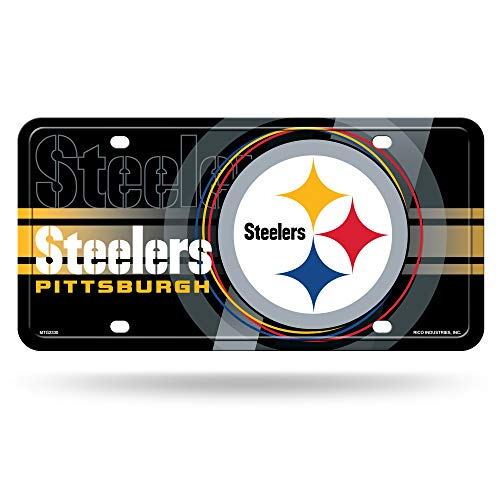 Rico Industries NFL Pittsburgh Steelers - Black Circle Metal License Plate Tag , 6 x 11.5-inches