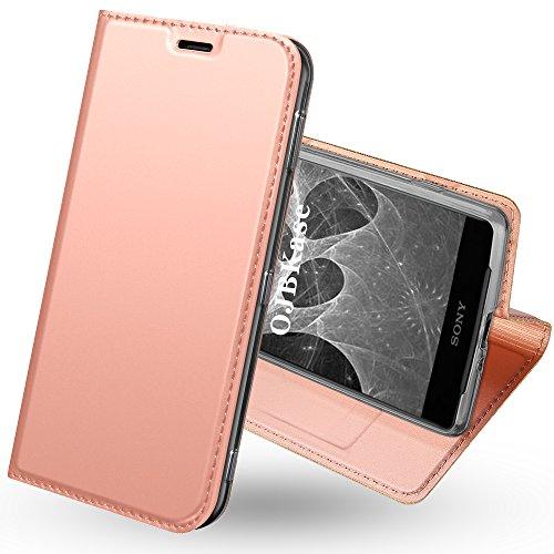 OJBKase Sony Xperia XZ2 Compact Hülle, Premium Slim PU Leder Handy Schutzhülle [Standfunktion] Hülle/Brieftasche/Ledertasche Tasche Lederhülle Handyhülle für Sony Xperia XZ2 Compact (Roségold)