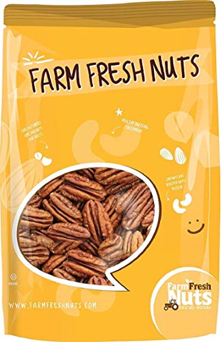 Whole, Shelled & Raw Georgia Pecans by Farm Fresh Nuts | 1 LB Bag of Southern Tastiness | Unsalted & Handpicked for Freshness | Perfect For Pecan Pie, Cookie, Praline, Butter Recipes & More