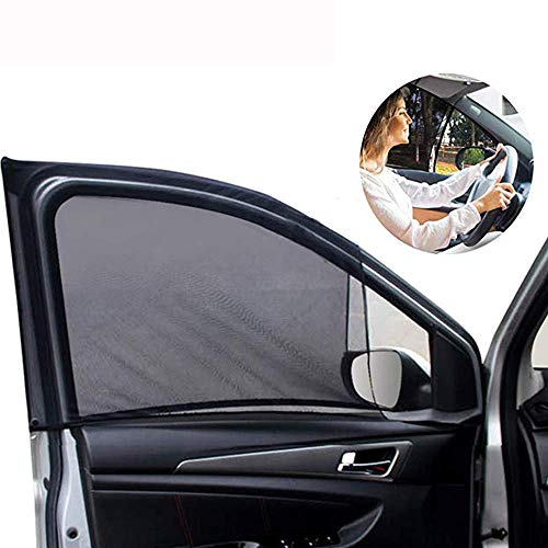 Car Front Window Sun Shade - 2 Pack Breathable Mesh Car Side Window Shade Sunshade UV Protection for Driver Family Pet on Front seat, Car Curtain with Two Holes to See Rearview Mirror Fit