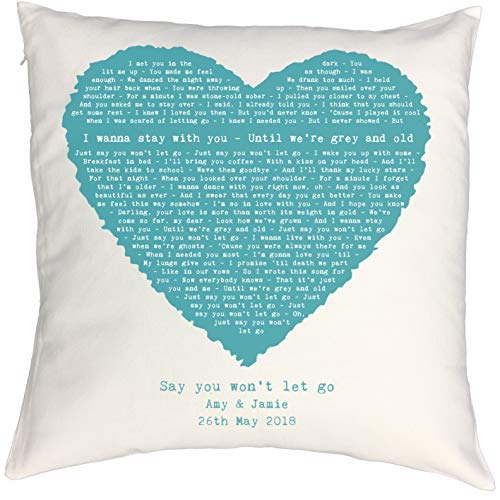 Personalised Song Lyrics Pillow Cushion Case with Romantic Vintage Heart Design, perfect 2nd Anniversary, Wedding, Birthday, Christmas or Valentines Gift (Any Song Lyrics, Vows, Poem, Speech)