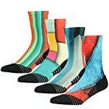 Casual Crew Dress Socks, HUSO Unisex Colorful Fashion Patterned Mid Calf Novelty Dress Boot Socks Multicolor 4 Pack
