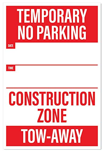 Temporary No Parking Sign | Large Notices for Construction Sites (Pack of 5) by Sutter Signs