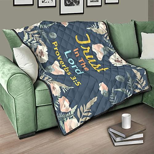 AXGM Colcha de confianza en el refrán de flores, manta con impresión 3D, para viajes, camping, color blanco, 173 x 203 cm