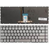 New Laptop Replacement Keyboard Fit HP Pavilion 14-CE 14-CE0064ST 14-CE0068ST 14-CE0008CA US Layout (Sliver with Backlight)