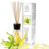 Difusor Aromas de Ylang-Ylang 100ml - Aroma Fresco y Largo - con 8 palitos de bambú - 0% Alcohol - Puro Aceite Ylang para Cuartos - Hogares - Oficinas - Restaurantes - Aromaterapia
