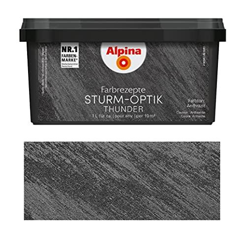 Alpina Farbrezepte 1 L. Effektfarbe Quarzsand, Sturm-Optik Thunder Anthrazit