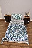 Juego de Funda de edredón Doble de Estilo Indio, Azul y Blanco, diseño de Flores urbanas, para Colgar en la Pared, Estilo Mandala y Gitano, 100% algodón, 203 x 137 cm