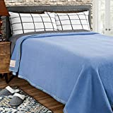 Poyet Motte Rivoli Solid 400GSM 100% Virgin Wool Blanket, Medium/Heavy Weight, Machine Washable (Blue Solid, Full/Queen Size)