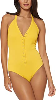 Dolce Vita Women's Ribbed Plunge Halter One Piece Swimsuit Swimsuit