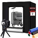 Caja de luz portátil para estudio fotográfico de 24 x 24 pulgadas/60 cm Kit de iluminación de fotografía profesional con luces LED regulables de 5500 K y 6 telones de fondo para fotografía