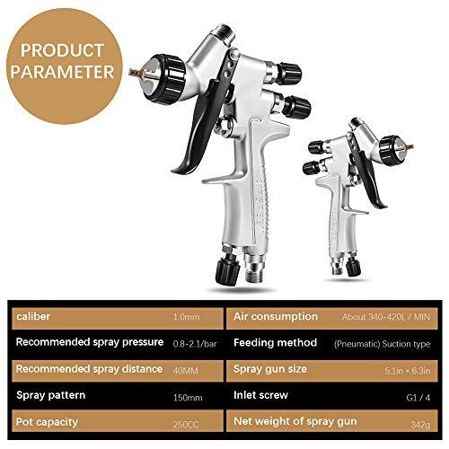 4YANG Pistola de Pintura Spray de Aire de Alta atomización Pistola pulverizadora de alimentación por Gravedad HVLP con boquillas de 1.0 mm Smart Touch Up para Pintar automóviles, Muebles, etc.