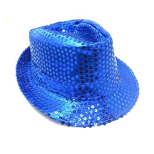 Pailleten Hut Glitzer Kappe Sylvester Karneval Party 11 Farben (Blau)