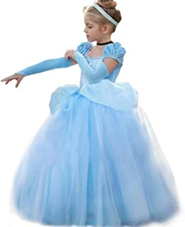 Little Girls Short Sleeves Princess Cinderella Costumes Birthday Party Evening Dress up