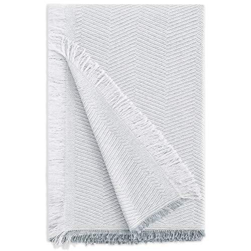 Vipalia | Mehrzweck-Tagesdecke. Plaid für Bett. Foulard Sofa- & Bett-Überwurf. Komfortabel, weich, hygienisch. Aus Bio-Baumwolle. Hochwertiges Fischgrätenmuster. Alle Größen