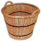 Wilpo Cesta para chimenea 56x56x45 Cesta para leña Cesta de cosecha Cesta para heno Sauce Cesta para patatas