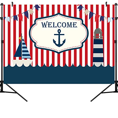 Nautical Red White Striped Photo Backdrop Ahoy Anchor Boat Boy Baby Shower Photography Curtain Backdrops Sailor Nautical Theme Birthday Party Decoration Banner Backgrounds for Kids