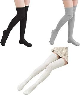 Warm Knee High Socks Women Cotton Thigh High Socks Leg Warmers Knit Crochet Socks Leggings Best Christmas Gift