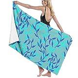 "Liana Spreads Aqua Blue Leaves Creeper Microfiber Beach Towel-31.5"" x 51"", Ultra Soft"