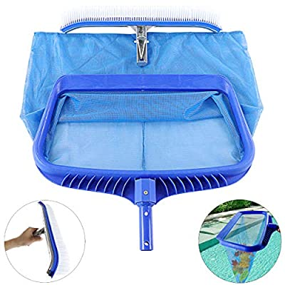 TOPNEW Pool Skimmer Net and Pool Brush Heavy Duty Swimming Pool Cleaning Tool Fine Mesh Pool Leaf Net and Pool Wall Brush for Cleaning Swimming Pools and Tubs