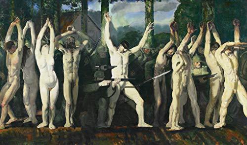 Barricada Aterrorizante Cena da Primeira Guerra Mundial Alemã Usando Civis Nus como Escudos Humanos 1918 Pintura de George Bellows na Tela em Vários Tamanhos (120 cm X 70 cm tamanho da imagem)