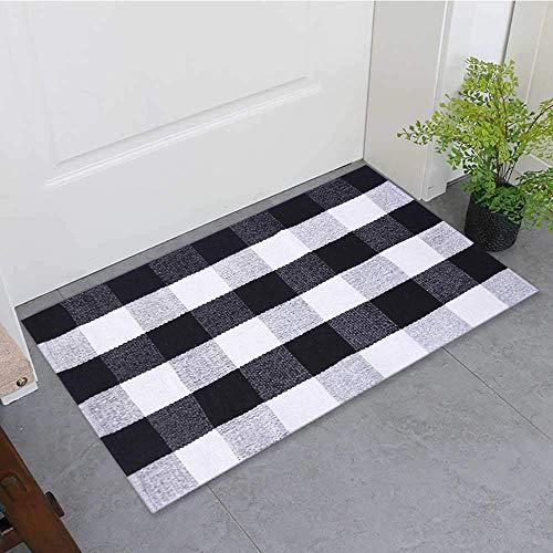 Buffalo Plaid Teppich für drinnen und draußen, Büffel-Teppich, Bauernhaus-Teppiche für Tür, Küche, Bad, Veranda, Dekoration, geschichteter Welcome-Teppich, Fußmatte, 61 x 88,9 cm, schwarz und weiß 1
