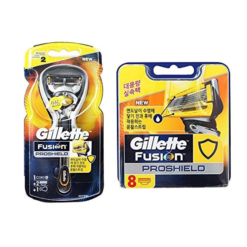 グラフグラフ卑しいGillette Fusion Proshield Yellow 1本の剃刀と10本の剃刀刃 [並行輸入品]