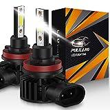 Pulilang Bombillas LED para faros delanteros H11 / H8 / H16 Luz LED para automóvil 60W 12000 lúmenes Conversión de faros a prueba de agua súper brillante Temperatura de color 6500K IP65 Paquete de 2