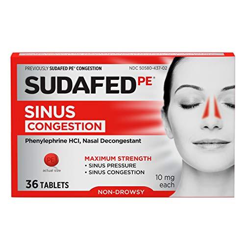 Sudafed PE Sinus Congestion Maximum Strength Non-Drowsy Decongestant...