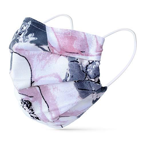 tanzmuster ® Behelfsmaske waschbar für Kinder 100% Baumwolle - Nasenbügel und Filtertasche - Mund und Nasenschutz 2-lagig - OEKO-TEX Standard 100 12-Blumen S (Kinder 6-12 Jahre)