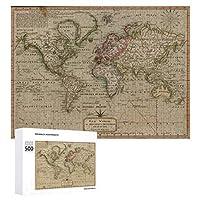 INOV 世界(1814年) ヴィンテージ 地図 ジグソーパズル 木製パズル 500ピース キッズ 学習 認知 玩具 大人 ブレインティー 知育 puzzle (38 x 52 cm)