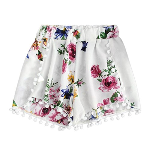 Shorts Damen Sommer Locker Luckycat Womens Lace Printing Mitte Taille lose Shorts elastische Taille Ringer Shorts Hose Sommerhosen Pants Hosen (Weiß, X-Large)