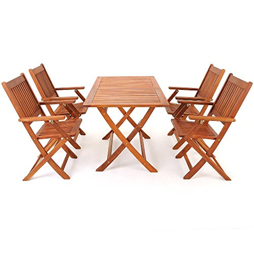 Deuba Wooden Garden Dining Table and Chairs Set FSC-Certified Eucalyptus Wood 4 Seater Folding Outdoor Furniture