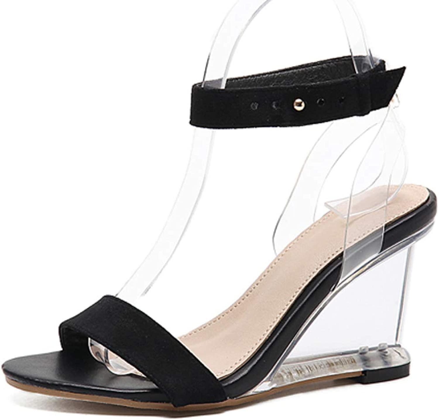T-JULY Sandals Open Toe High Heels Women Transparent Perspex Slippers shoes Wedge Heel Clear Sandals