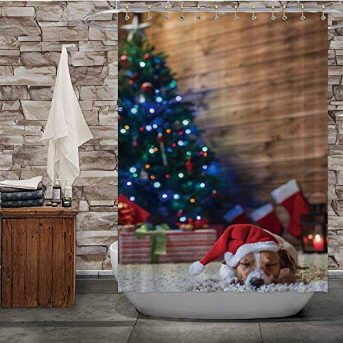 Hitecera Dog Jack Russel Under a Christmas Tree with Gifts and Candles Christmas,Fabric Shower Curtain Puppy Bathroom Decor Set with Hooks 72''Wx96''H