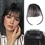 Clip in Air Bangs 100% Remy Human Hair with Temples Hand Tied Thin Air Bangs Mini Human Hair Bangs Clip On Hairpiece Flat Fringe Bangs for Women(Black)