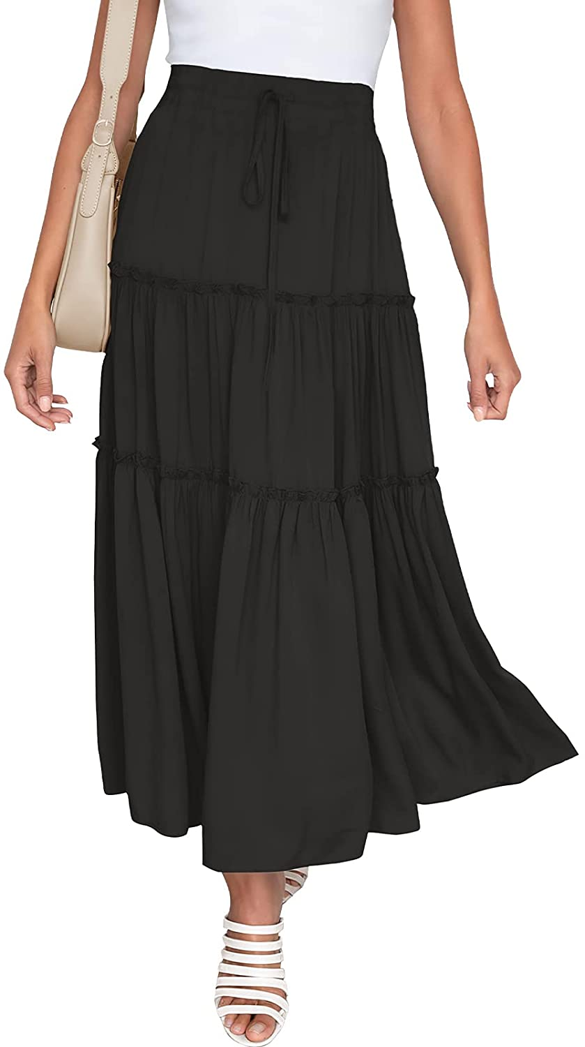 NASHALYLY Skirts for Women Boho Elastic Waisted Drawstring Swing Ruched 3 Tiered Maxi Skirt with Pockets