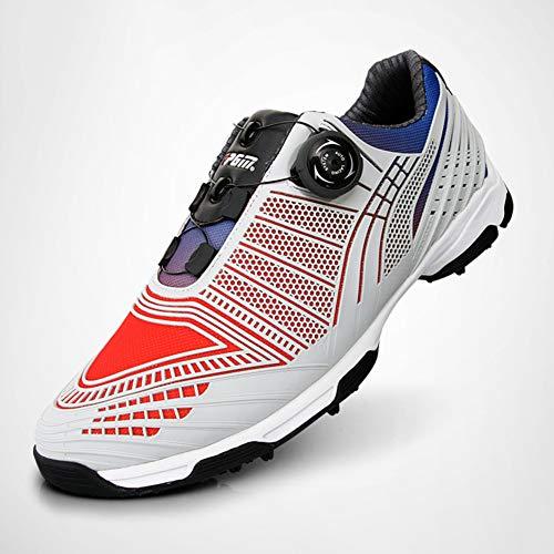 AUZZO HOME Zapatos de Golf de PGM de los Hombres con Picos Antideslizante torcedura Impermeable Ligero Zapatillas con Zapatos de Encaje Sistema Boa Deportes Masculino,Rojo,44