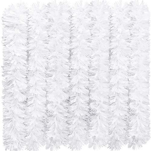 eBoot 39,4 Fuß Weihnachten Lametta Girlande Glänzend Girlande Metallisch Weihnachtsbaum Girlande Hängende Dekoration für Weihnachten Party Indoor und Outdoor Dekoration (Weiß)