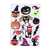 BESTOYARD Tatuajes temporales Maquillaje de Halloween para niños y niñas Calabaza Fluorescente Fantasma y murciélago Tatuajes creativos Pegatinas Creativas (037)