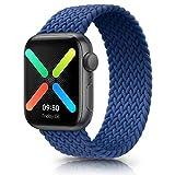 WOOZ Bracelet Montre Elastiques Tressée pour Apple Watch 44mm 40mm 42mm 38mm , Bracelet Élastique Nylon de Remplacement pour iWatch Séries 6/5/4/3/2/1/SE (42/44mm L, Bleu)